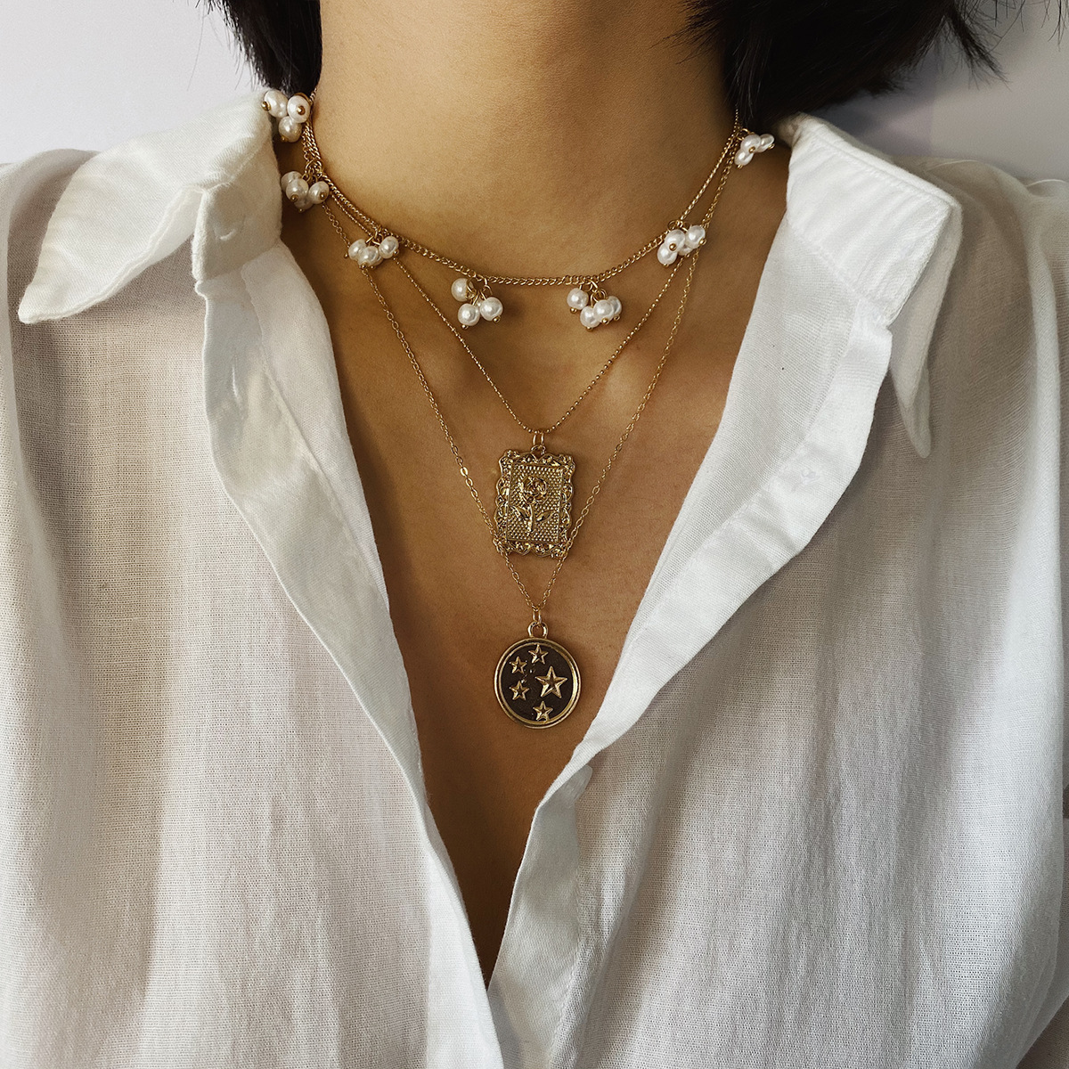 Tassel Imitation Pearls Choker Necklace Female Embossed Tag Pendant Necklaces for Women Gold Color 2020 Fashion Jewelry