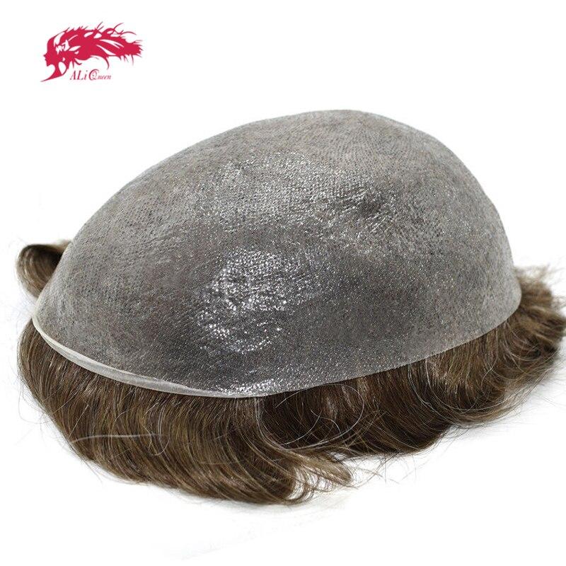 アリクイーン髪薄皮 0.08-0.1 ミリメートルメンズかつら 8 × 10 インチ髪の交換システム純粋な手作り男性かつら 100% 自然の Remy 毛