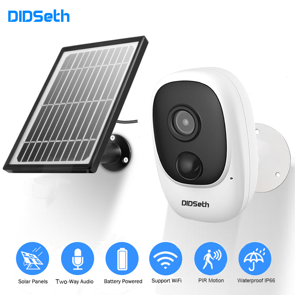 DIDseth 1080P Rechargeable Battery Powered IP Camera Solar Power Charging 1080P HD Outdoor Wireless Security WiFi Camera