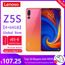 Global ROM Lenovo Mobile Phone 6GB 64/128GB Smartphone Z5S 6.3 Inch 2340*1080 Kamera Belakang 16.0MP 8.0MP 5.0MP Octa Core Ponsel