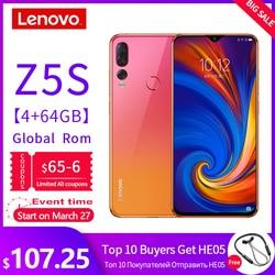 Globale ROM Lenovo Mobile Phone 6GB 64/128GB Smartphone Z5S Da 6.3 Pollici 2340*1080 Macchina Fotografica di Retrovisione 16.0MP 8.0MP 5.0MP Octa Core Telefoni