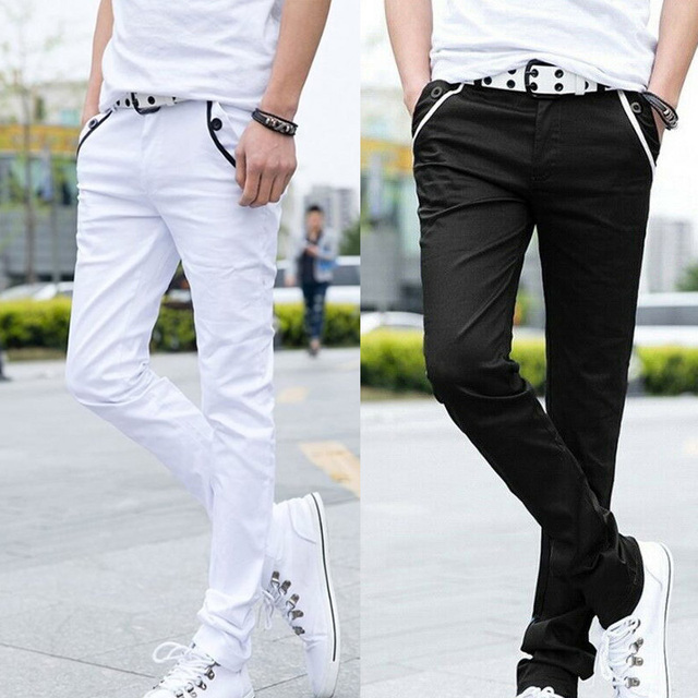 Men Formal Business Pants Jeans Men color: Black|White