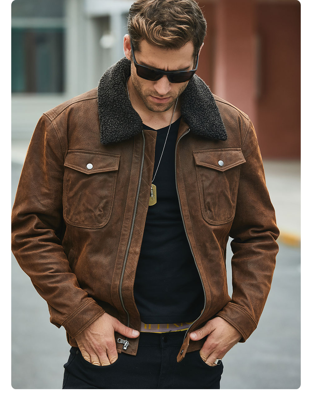 H53aa9b29394945c6b6e8fa6ed50368b4C FLAVOR Men's Real Leather Jacket Genuine Leather jacket with faux fur collar male Motorcycle warm coat Genuine Leather Jacket