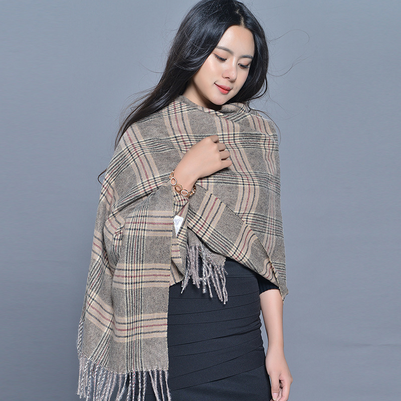 Korea Style Women Cashmere Jacquard Air-conditioned Room Shawl Autumn And Winter National Wind Double-sided Scarf