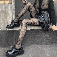 Pantis de encaje calado para mujer, medias de lencería sensual de estilo Retro Floral de Lolita, Cosplay de Halloween