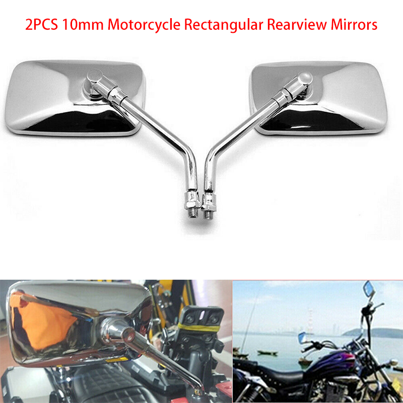 2 Pcs Motorcycle ATVs Bicycle Chrome 10mm Round Side Rear View Mirrors Universal