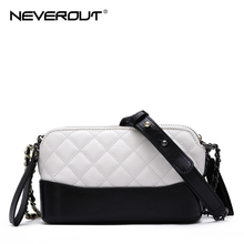 NEVEROUT Classic Ladies Cross body Bag Quilted Lattice Small Handbags Genuine Leather Shoulder Messenger Purse Bags for Women