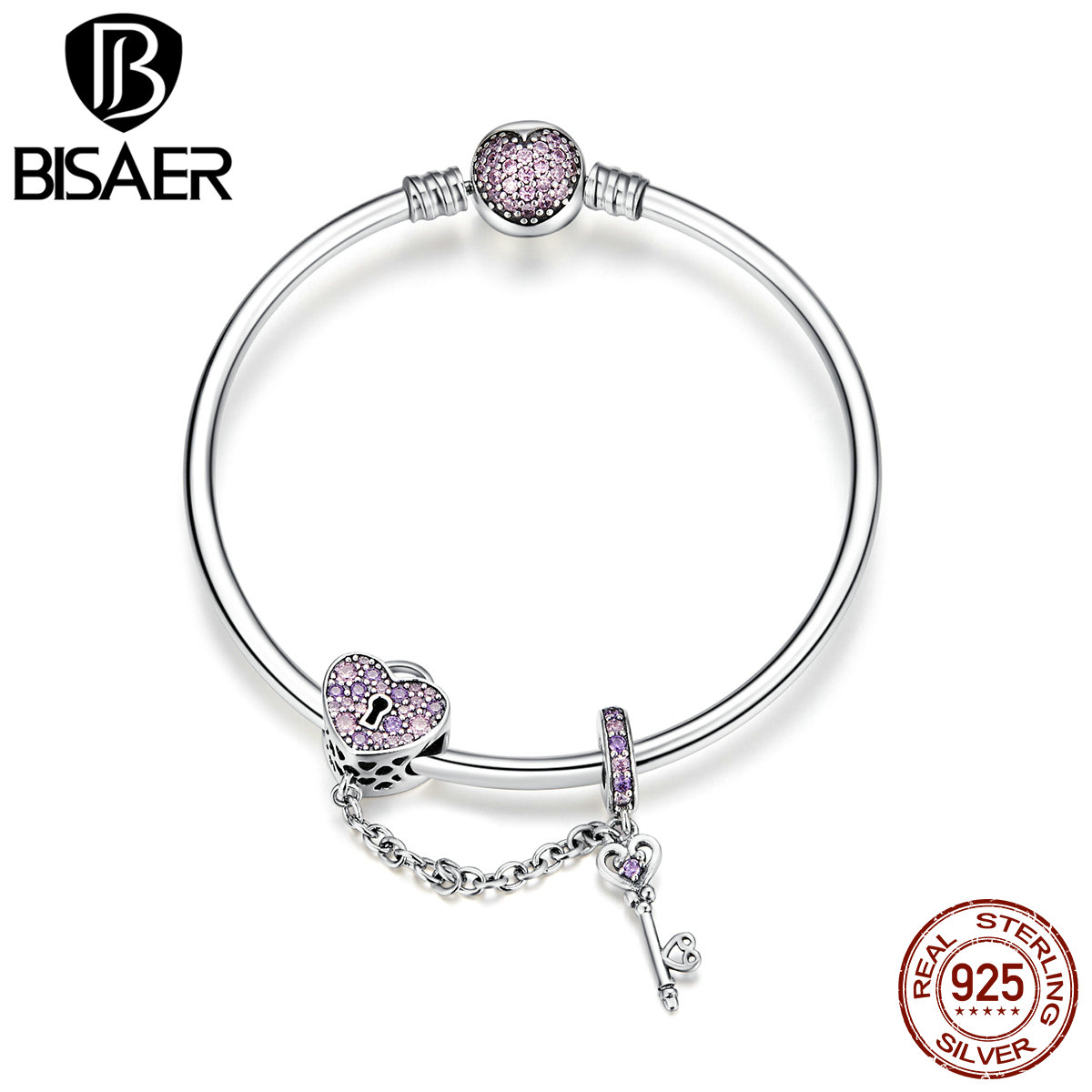 BISAER Real 925 Sterling Silver Love Heart And Heart Key Pink CZ Bracelets Bangles for Women Sterling Silver Jewelry ECB820