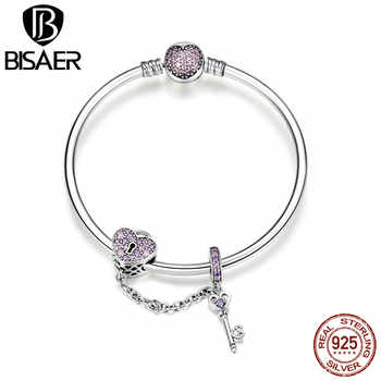 BISAER Real 925 Sterling Silver Love Heart And Heart Key Pink CZ Bracelets Bangles for Women Sterling Silver Jewelry ECB820 - DISCOUNT ITEM  30% OFF All Category