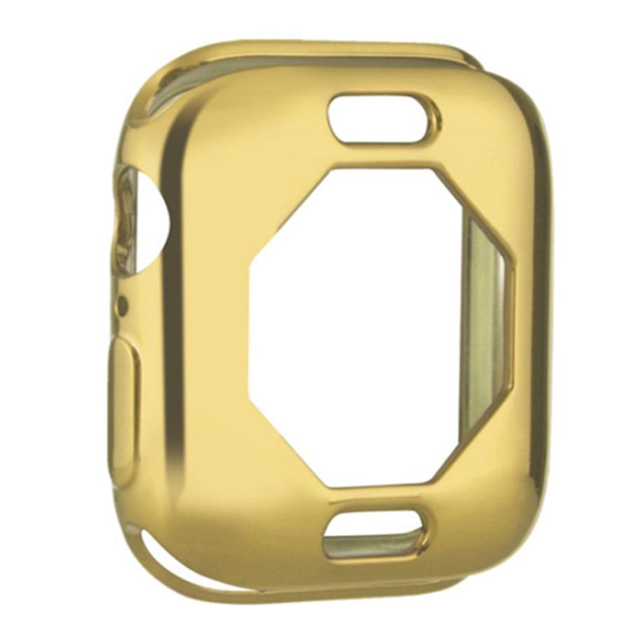 Чехол s для Apple Watch, 44 мм, 40 мм, серия 5, чехол с покрытием, TPU, мягкая защитная оболочка, защитная рамка для iWatch, 4 полосы, бампер - Цвет: Золото