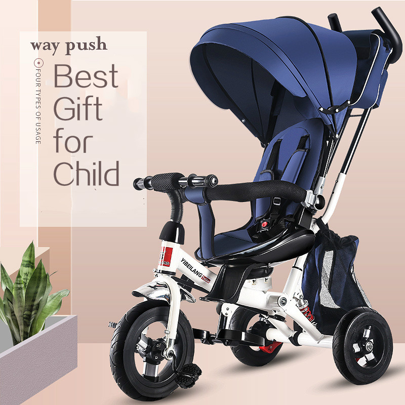 4 In 1 Child Tricycle Stroller Folding 3 Wheels Bicycle Stroller Shock Absorption With Storage Bag 3-6Y Kids Trike Bike