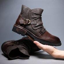 100% Retro de piel auténtica para hombre, botas estilo Chelsea de diseñador originales, botines impermeables con correa de monje, Oxfords