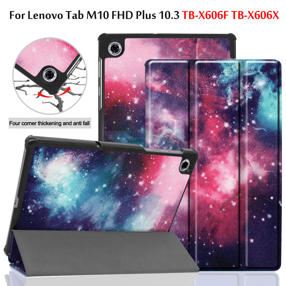 Magnetic Smart PU Leather Case For Lenovo Tab M10 FHD Plus TB-X606F TB-X606X 10.3 Inch Tablet Funda Capa Cover+Screen Film+Pen