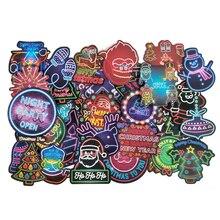 50 Teile/paket Weihnachten Neon Serie Aufkleber Santa Claus Doodle Aufkleber Für Laptop Maus Motorrad Skateboard Gepäck Gitarre F4
