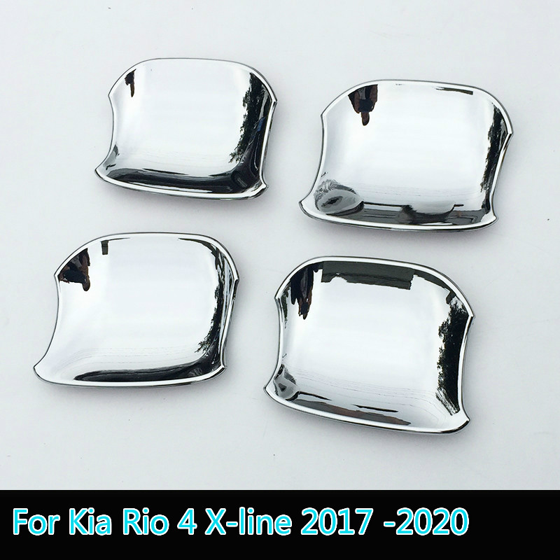 For Kia Rio 4 X-line 2017 2018 2019 2020 Chrome Carbon Fiber Door Handle Cover Cup Bowl Trim Sticker Overlay Styling Accessories