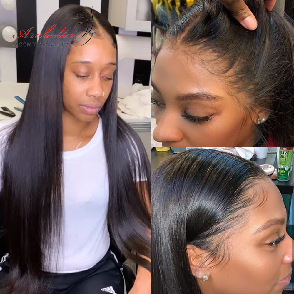 Straight Hair 13X4 Lace Front  Hair Wig 180% Density Arabella Pre Plucked With Baby Hair Line  Lace Wigs 4