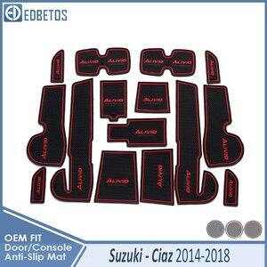 Anti-Slip Mat For Suzuki Ciaz 2014 2015 216 2017 2018 Maruti Accessories Gate Slot Coaster Anti-Dirty Door Groove Mat Car(China)