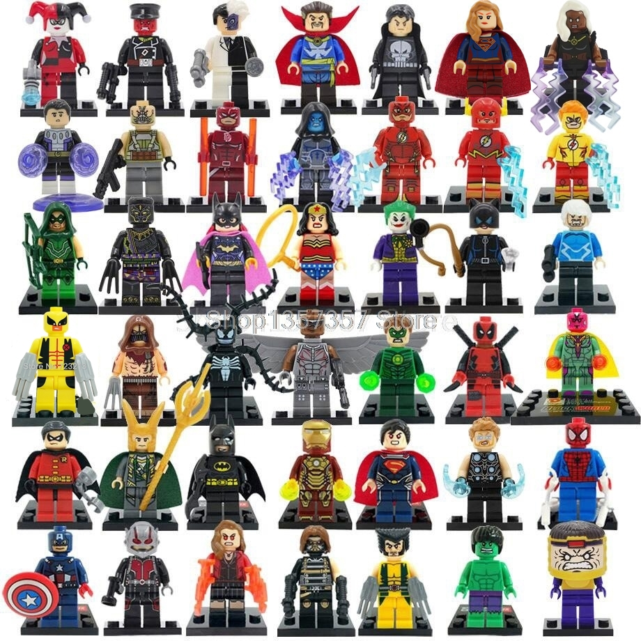 42pcs/lot Super Hero Figure Set Building Blocks Avengers Iron Man Justice League X-Men Venom Bricks Toy For Children Legoing