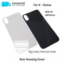 10 sztuk Big Hole metalowa rama pokrywa baterii tylne drzwi obudowy telefonu obudowa tylna pokrywa dla iPhone X XS MAX szklane ciało powrót obudowa