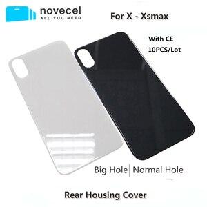 Image 1 - 10 sztuk Big Hole metalowa rama pokrywa baterii tylne drzwi obudowy telefonu obudowa tylna pokrywa dla iPhone X XS MAX szklane ciało powrót obudowa