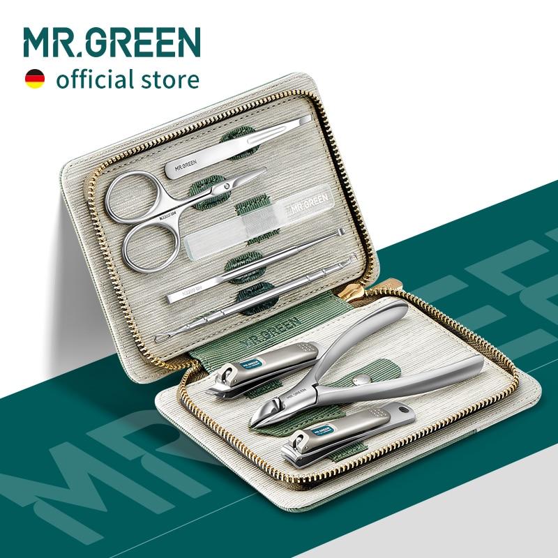MR.GREEN zestaw do Manicure zestawy do Pedicure obcinacz do paznokci ze stali nierdzewnej profesjonalny obcinacz do paznokci narzędzia z walizka podróżna
