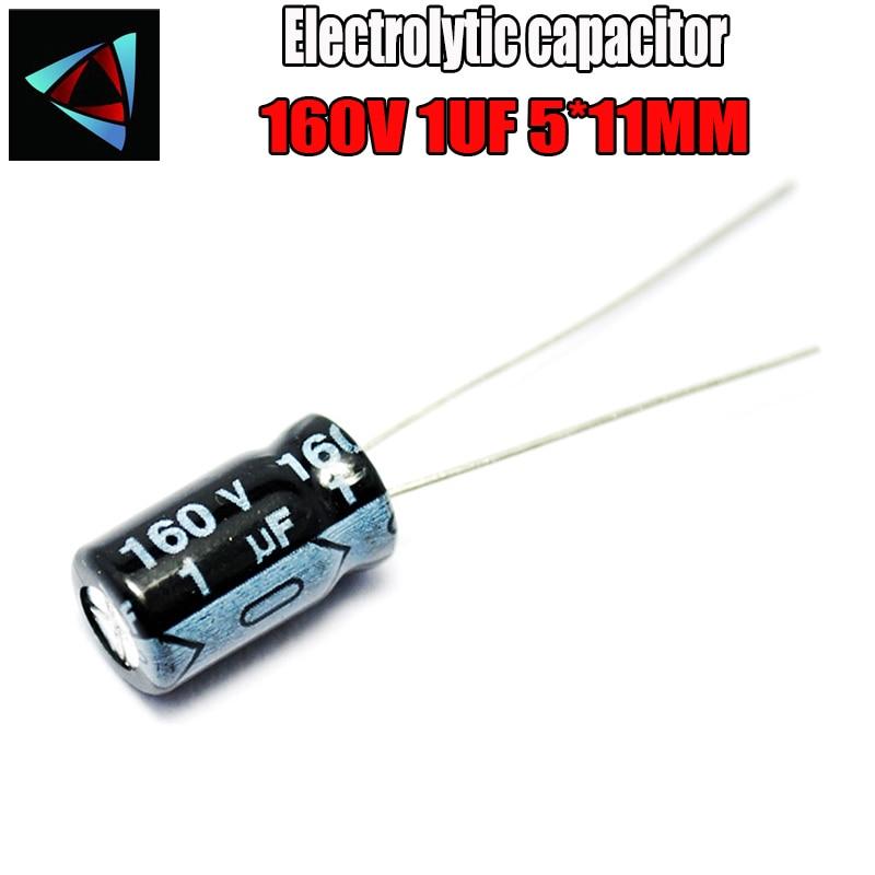 30PCS Higt Quality 160V 1UF 5*11mm 1UF 160V 5*11 Electrolytic Capacitor