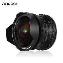 Andoer 7,5 мм F2.8 ручной фокус объектив рыбий глаз 180 градусов ультра широкий угол Большая диафрагма Для беззеркальных камер Fujifilm Canon EOS