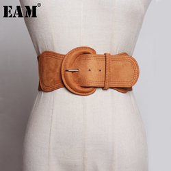 [EAM]  Suede Pu Leather Big Buckle Adjustable Wide Belt Personality Women New Fashion Tide All-match Spring Autumn 2021 JZ135