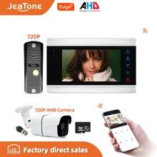 Jeatone 7 Tuya WiFi IP Video Telefono Del Portello Del Citofono + Impermeabile 720P Mini Campanello e Telecamera A CIRCUITO CHIUSO, sostegno A Distanza di sblocco