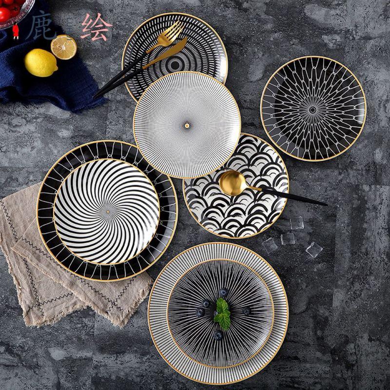 Assiette à dessert en porcelaine 6/ 8 /10 pouces   Vaisselle à géométrie de Phnom penh assiette à dîner en céramique assiette à dessert en porcelaine 6 pièces - 2