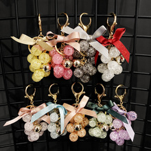 New Quicksand Crystal Grape Bunch Keychain Jewelry Car Key Ring Couple Bag Creative Gift Wholesale