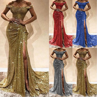 BacklakeGirls Sexy Boat Neck Off Shoulder Sequined Evening Gowns Side Split Mermaid Dress Long Evening Dresses Vestido Sirena