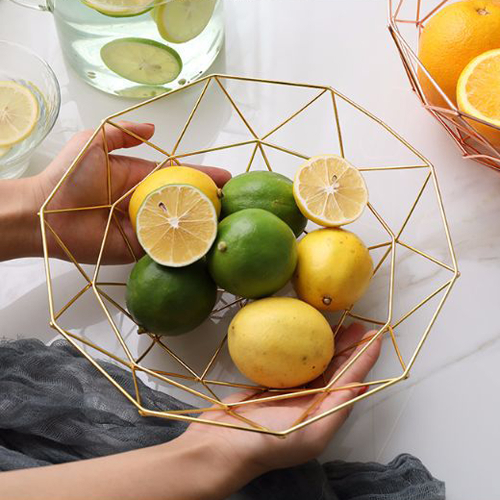 Simple Geometry Wrought Iron Fruit Plate Creative European Ornaments Home Living Room Dining Table Fruit Plate Storage Basket