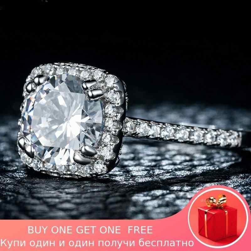 SONA เพชรไม่ปลอม S925 แหวนเงินแท้ VS Clarity 2 กะรัตหรูหราประณีตแหวนหมั้นแต่งงานแหวน I Love MOM 925