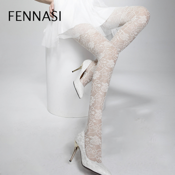 FENANSI Women's Floral Fishnet Tights Thin Floral Pattern Hollow Out Mesh Sexy Pantyhose Nylons Lady Female Erotic White Tights faux sapphire alloy hollow out floral barrette
