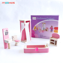 Parent-child interaction of children pretending to play with mini-furniture bathroom suite wooden mini-furniture doll house interaction of palmitic acid with metoprolol succinate