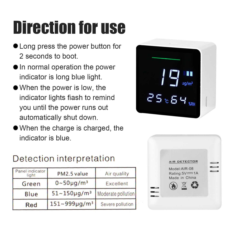 PM 2.5 Rumah Tangga Detektor Kualitas Udara PM2.5 Tester dengan Listrik Jumlah Suhu Kelembaban Monitor Kualitas Udara