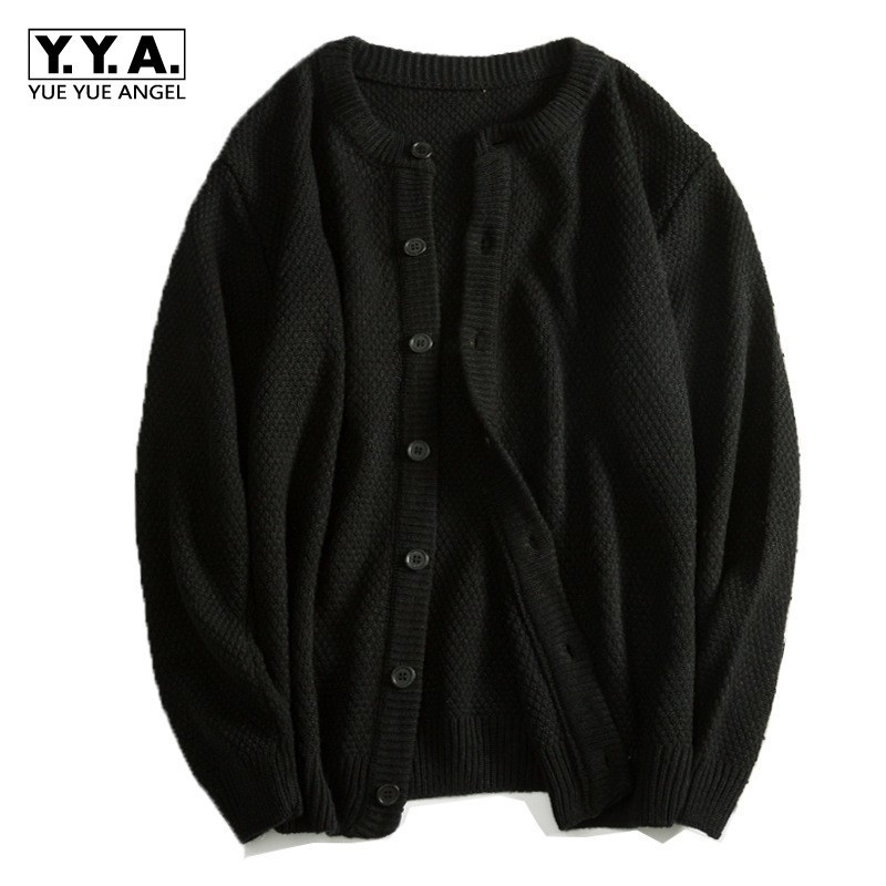 New Black Casual Cardigan Male O Neck Single Breasted Sweater Men Long Sleeved Knitted Sueter Hombre Coats Jaqueta Masculino 3XL