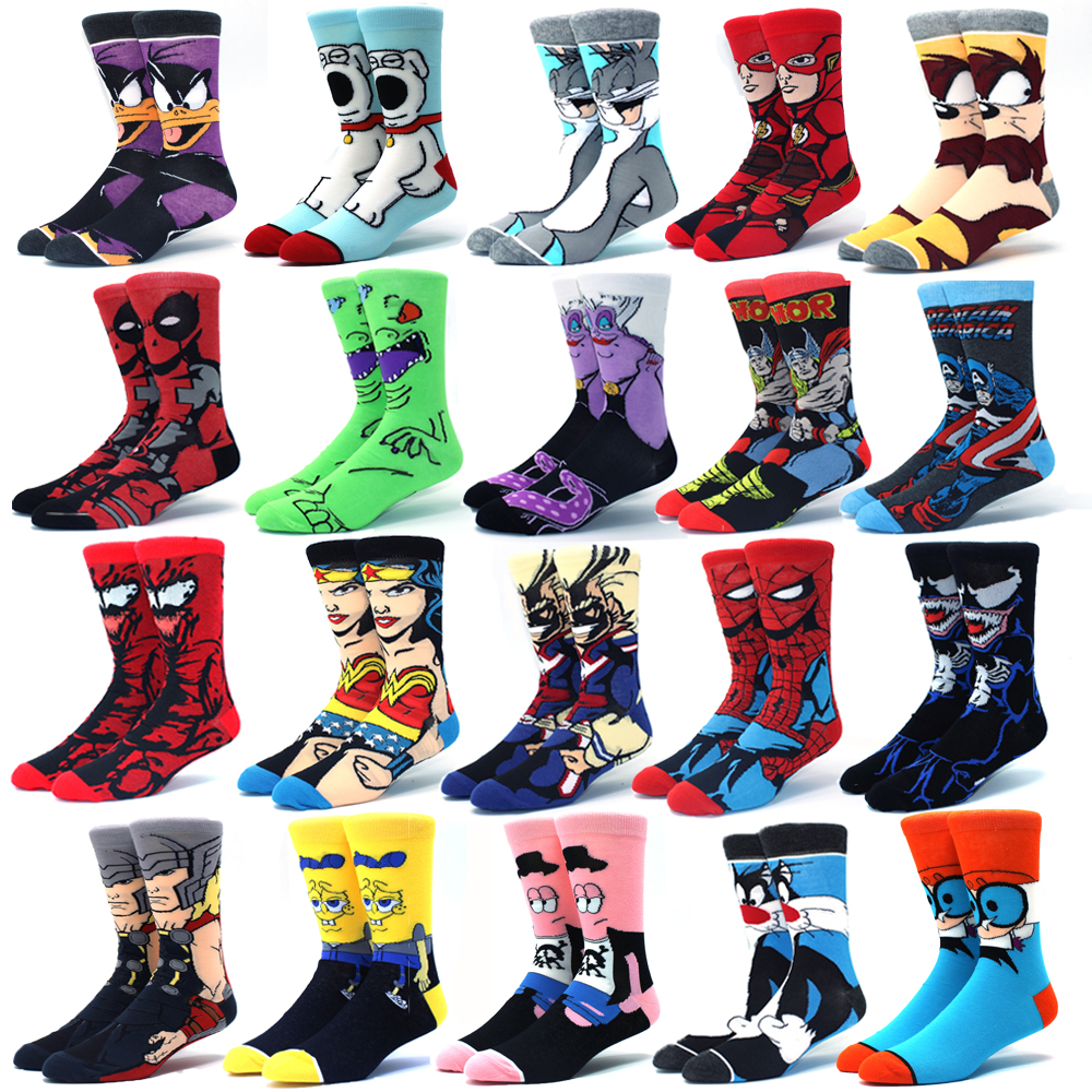 Men's socks fashion men's anime funny socks hip hop personality anime socks cartoon fashion skarpety high quality sewing pattern