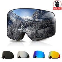 OTG Ski Goggles Snowboard Mask For Men Women Skiing Eyewear UV400 Snow Protection Over Glasses Adult Double Anti-Fog Cylindrical