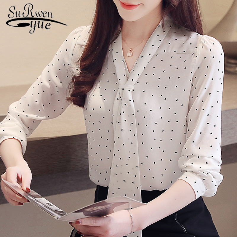 Fashion Blouse For Women 2019 Dot Wave Point Chiffon Blouse Shirt Long Sleeve Women Shirts Bow V Collar Office Blouse 2491 50