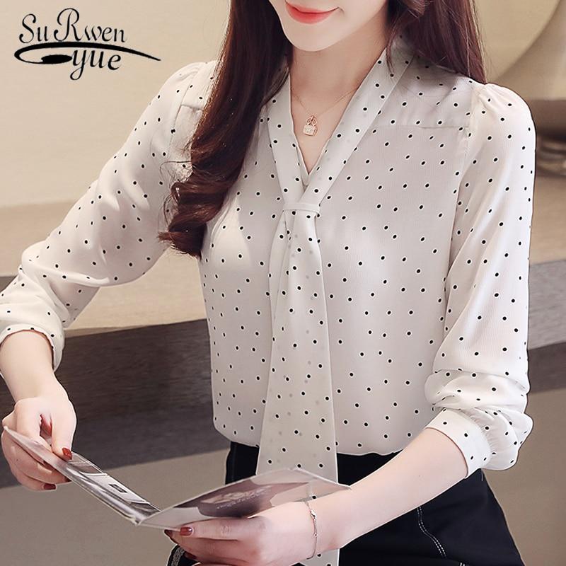 Fashion Blouse For Women 2019 Dot Wave Point Chiffon Blouse Shirt Long Sleeve Women Shirts Bow V Collar Office Blouse 2491 50