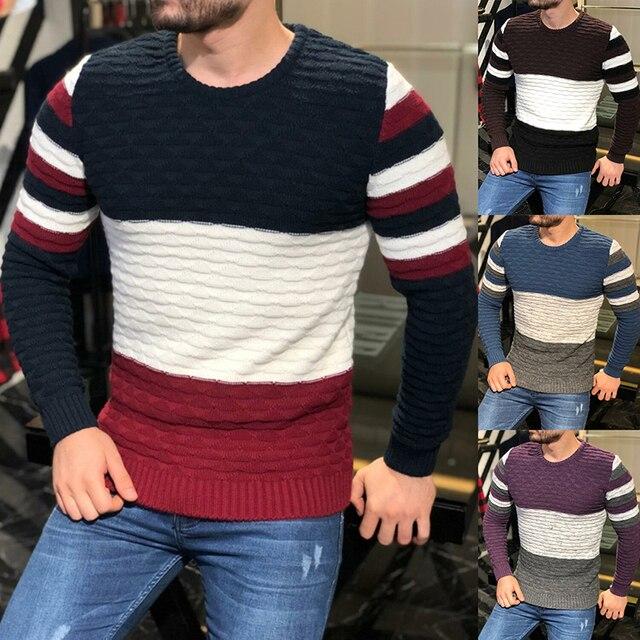 Мужской плотный трикотажный свитер в полоску, с длинным рукавом и круглым вырезом 5