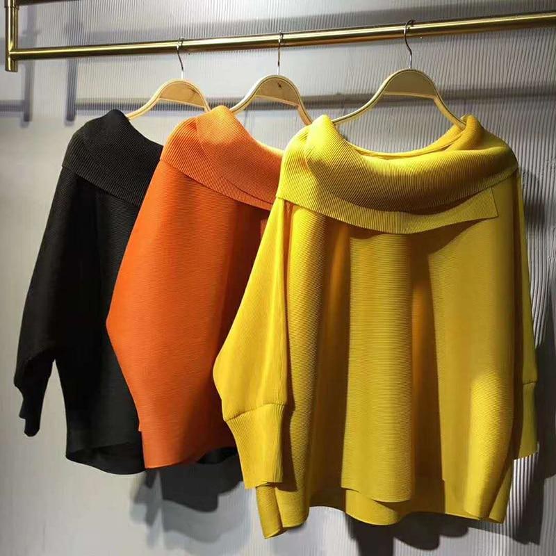 Женский свободный свитер миаке, плиссированный топ с отложным воротником и длинным рукавом летучая мышь, Осень зима 2020|Блузки| | АлиЭкспресс