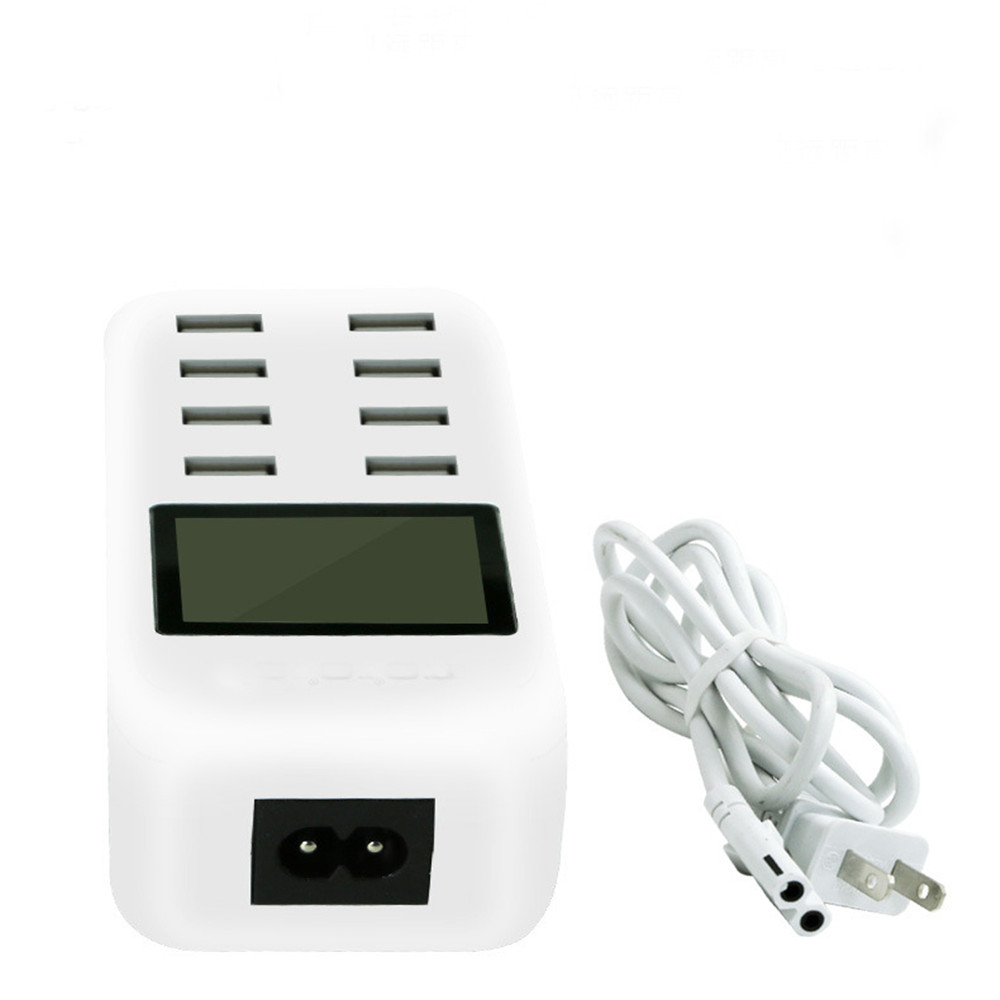 8 Ports USB Mobile Phone Charger Automatically Recognizes <font><b>LCD</b></font> Screen Real-<font><b>time</b></font> Digital Display Intelligent Universal Charger 40W image
