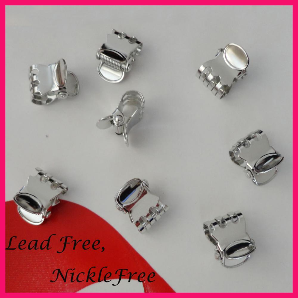 50pcs silver finish 1.5cm oval pattern metal hair claw at lead free/&nickle free