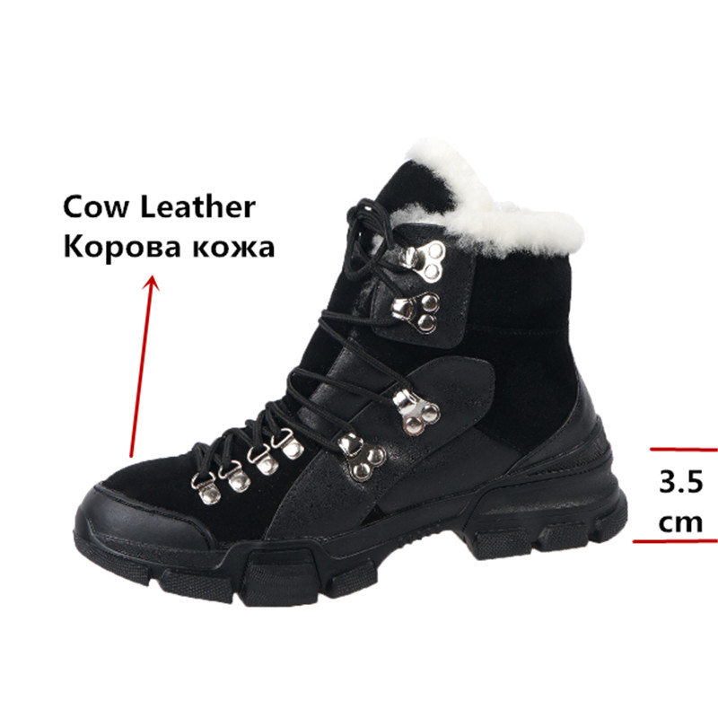FEDONAS Cross Tied Women Quality Genuine Leather Ankle Boots Casual Office Shoes Woman Winter Vintage Warm Female Snow Boots 43