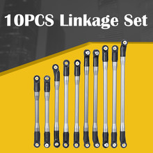 10PCS/set METAL Upper + Lower Linkage Chassis Link Set With Plastic Rod End Set For AXIAL RC Crawler Car SCX10 II 90046