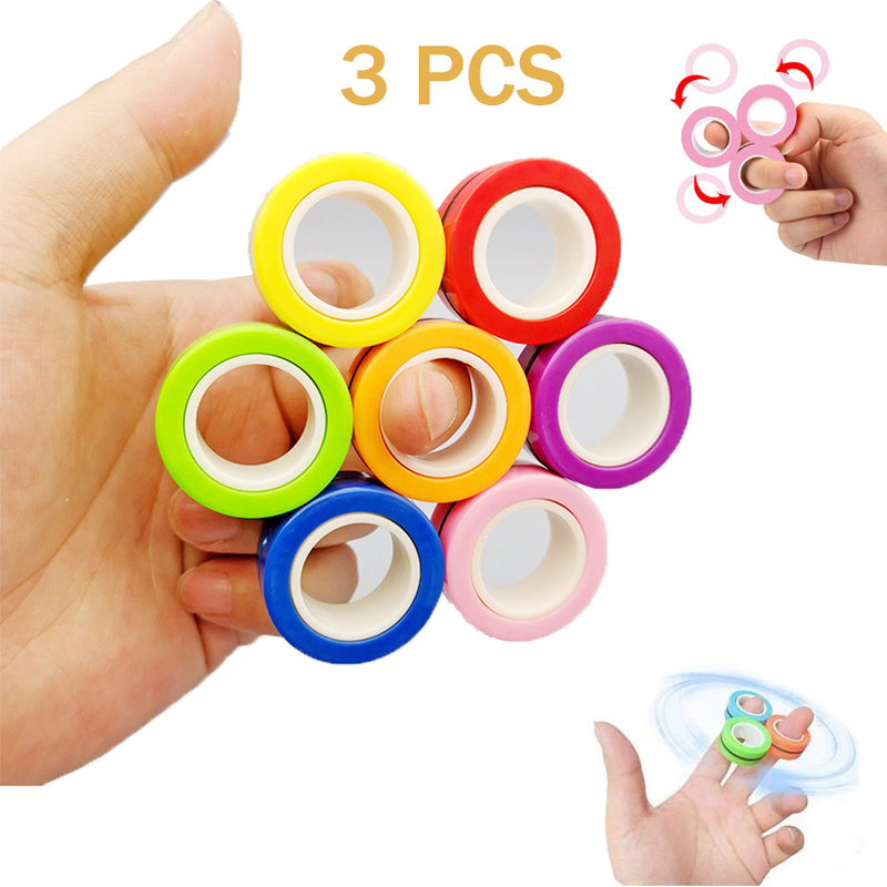 3 PCS Fidget Spinner Funny Magnetic Bracelet Ring Unzip Toy Magic Ring Props Tools Anti Stress Figet Hotwhells Toys Stress Child