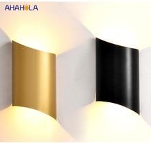 Luz Led moderna de pared lámparas de oro blanco negro de aluminio de la lámpara de luz dormitorio lámpara de pared para vivir habitación escaleras abajo luz Led
